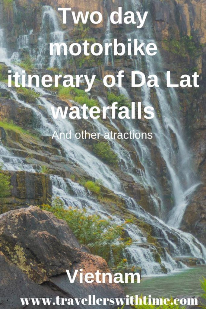 A 2 day DIY Itinerary for exploring some of the beautiful sites surrounding Dalat Vietnam. Ride through the Vietnamese Countryside while visiting Pongour falls, Elephant falls, Datanla waterfall and Prenn Waterfall. We also visited other must see sites such as the Dalat Crazy House and Truc Lam Pagoda. #dalatwaterfall #thingstodo #dalatvietnamtravel