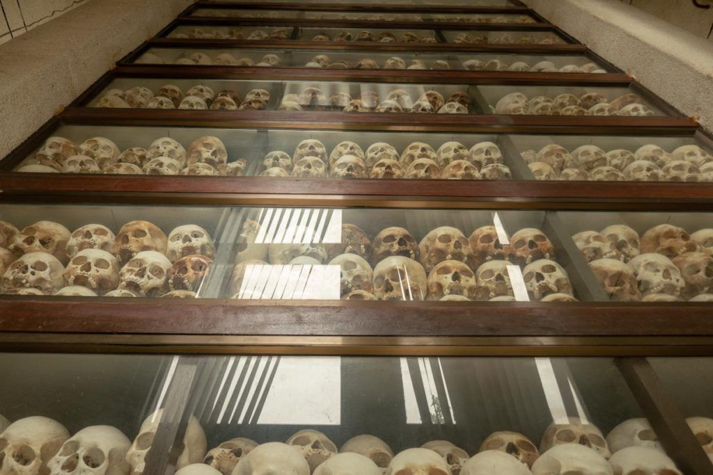 skulls in the Remembrance Stupa at the Killing Fields