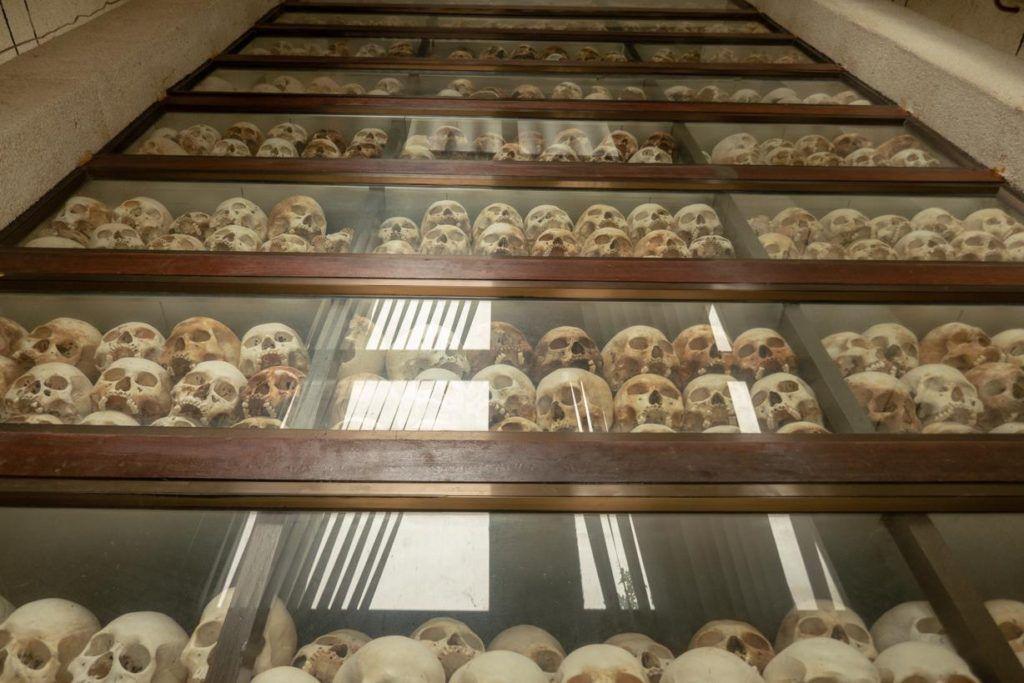 Killing fields Phnom Penh Skulls in memorial stupa