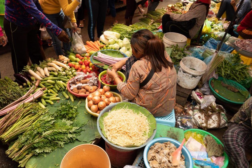 Cambodia travel tips and advice - Fruits and Vegetables for sale at a local food market