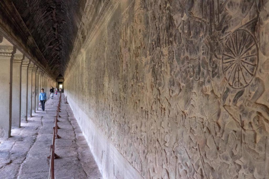 Temples of Siem Reap Bas Relief wall at Angkor Wat