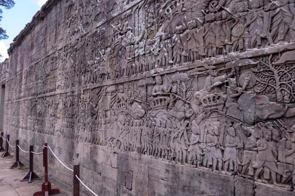 Temples of Siem Reap Bayon temple bas relief wall