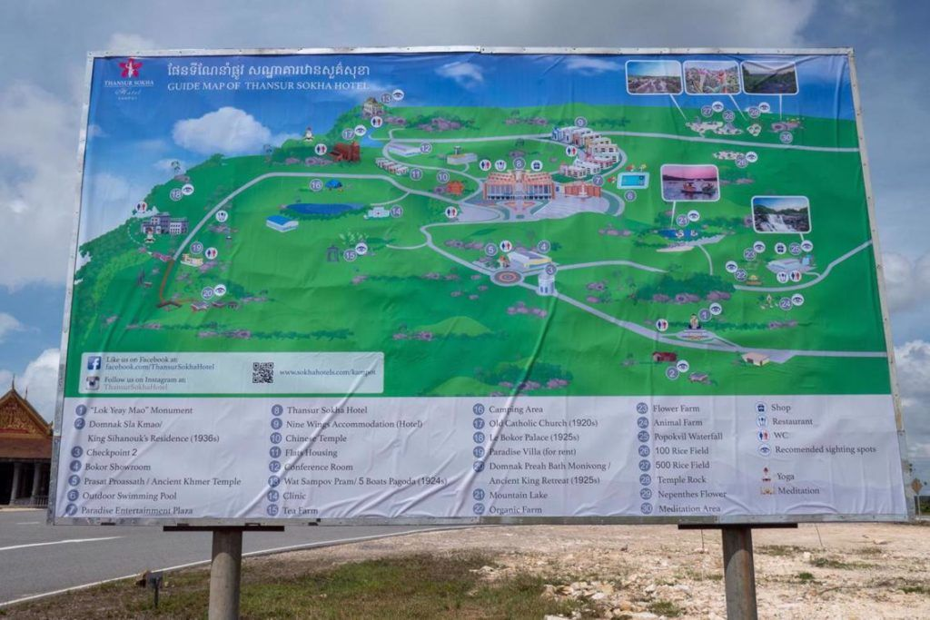 Bokor National Park Cambodia Map of things to see on Bokor Mountain