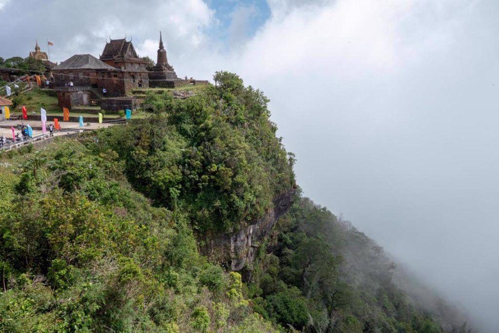 Bokor National Park Cambodia The view of Wat Samprov Pram Pagoda at the top of Bokor Mountain