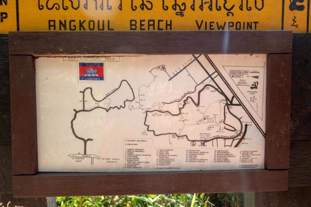 Kep National Park Cambodia Hiking Trails Map