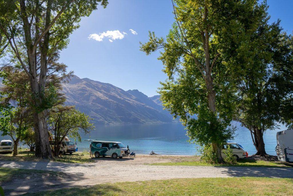 Campervan around New Zealand - Freedom camping near Queenstown, South Island