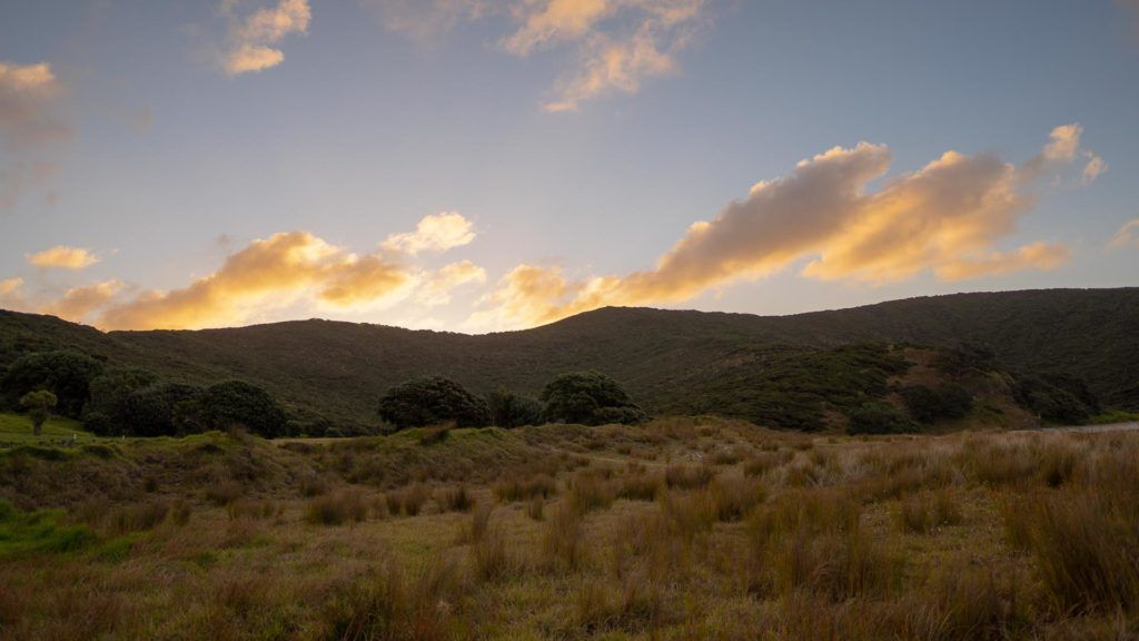 Sunset over mountains, Northland New Zealand on an Auckland to Cape Reinga Road Trip