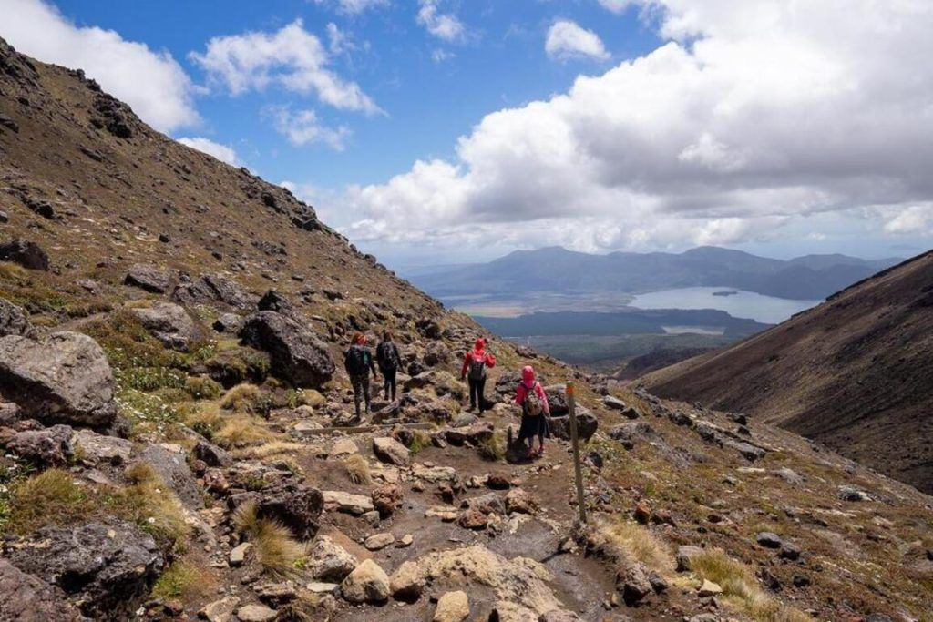 The views on the descent down Mount Tongariro, New Zealand