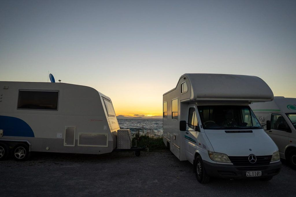 Compare campervan hire New Zealand Motorhome freedom camping by Lake Tekapo