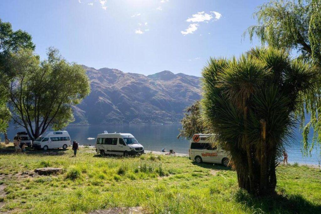 Campervans freedom camping beside Kingston Lake New Zealand
