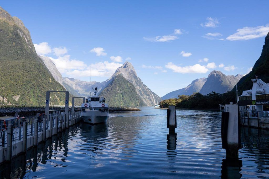 The jetty at Milford Sound with Tour boats