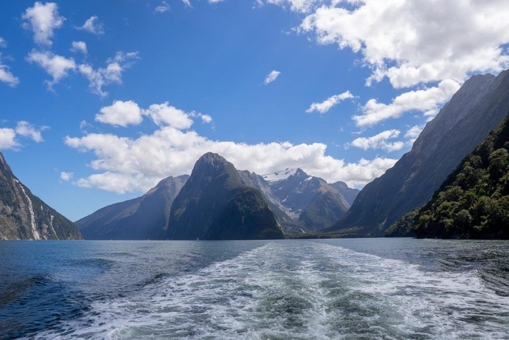 The close vertical cliff face of Milford Sound