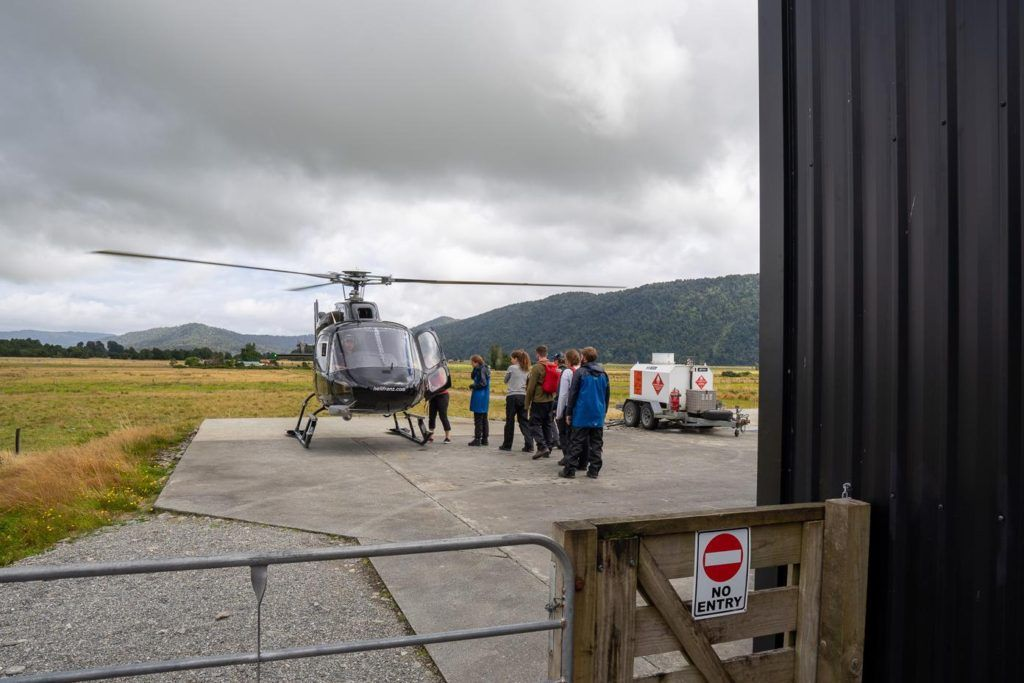 Boarding the helicopter for the Fox Glacier Heli Hike