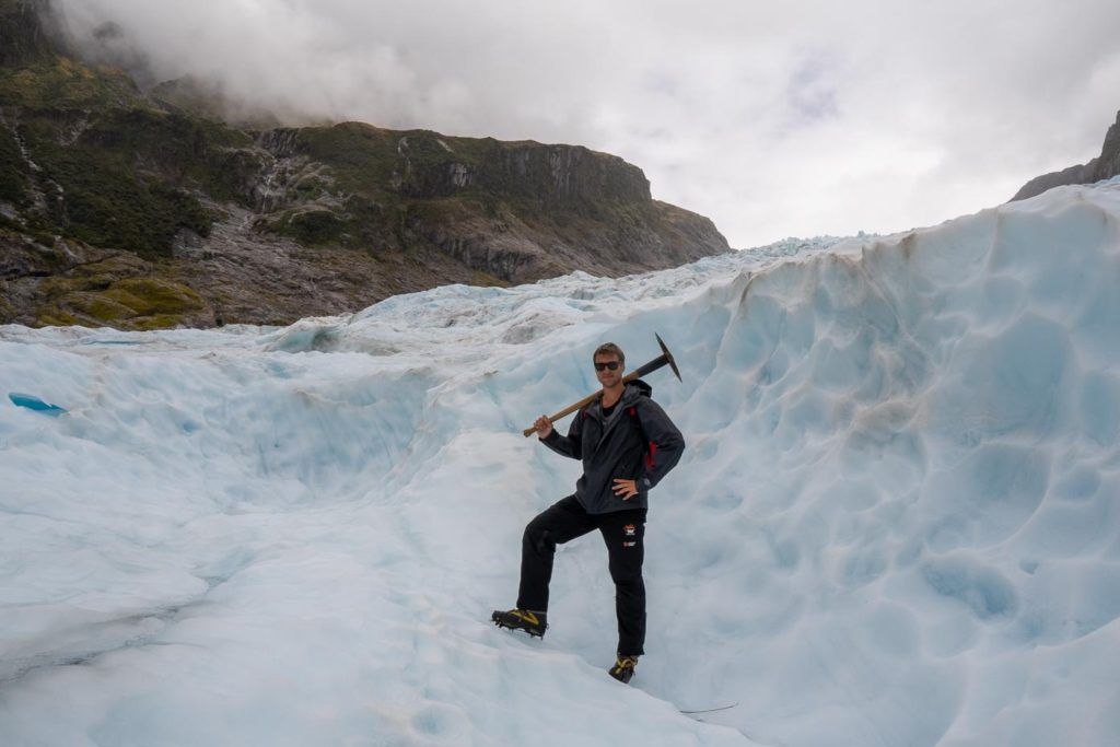 Ben with an ice pick on Fox Glacier
