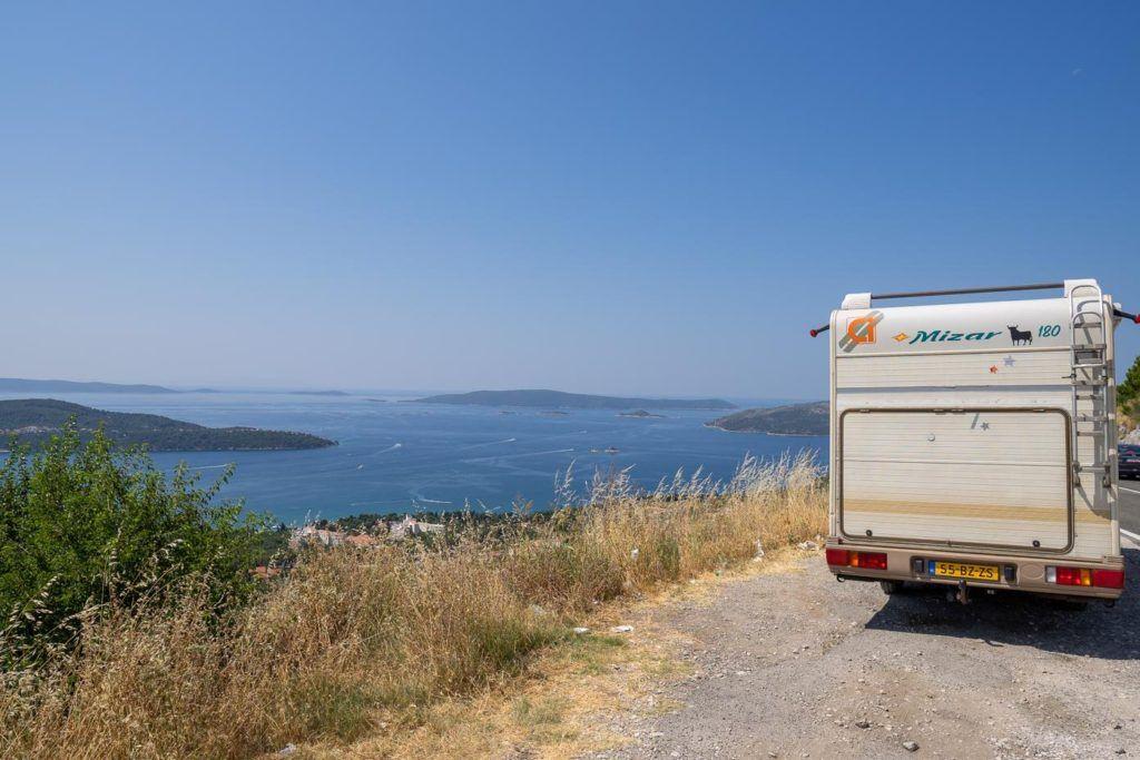 Campervan over looking the ocean, Croatia
