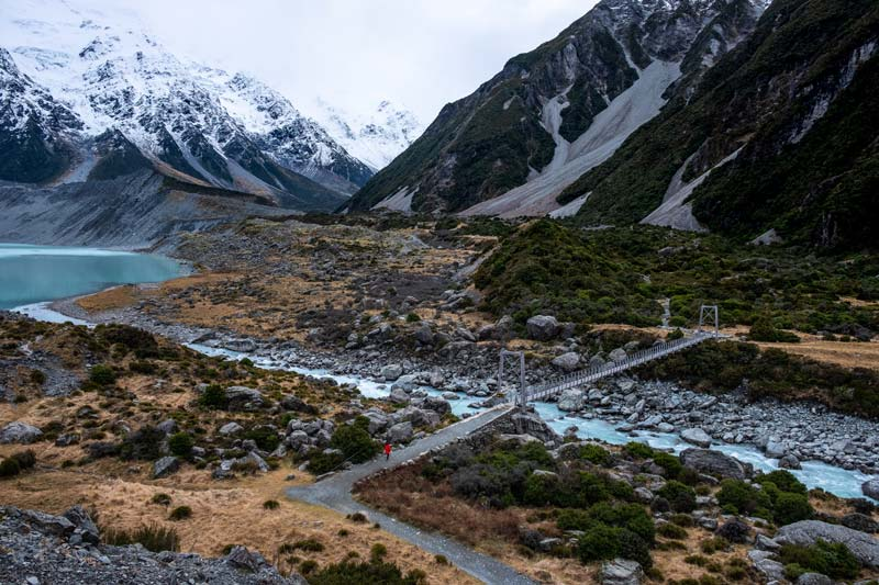 The Hooker Valley Track is accessible from the small town of Mt Cook Vllage